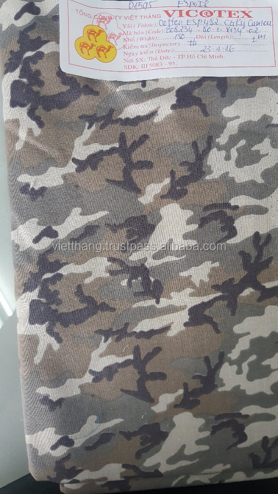 "Camouflage fabric 100% cotton 74*57/CD20*CD16/59"" made in Viet Nam"