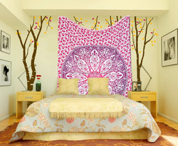 100% Cotton Handmade Wholesale bohemian hippie boho Pink Round flower printed wall decor Tapestry
