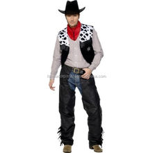 Mens Leather Cowboy Costume Black Fancy Dress Western Clint Eastwood Hat Chaps FC-8984