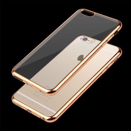 crystal phone back cover Electroplating Transparent TPU case Soft Cover Shockproof case