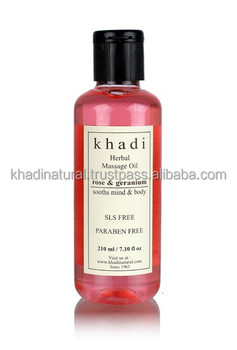Khadi Natural Herbal Rose & Geranium Massage oil Without Mineral Oil