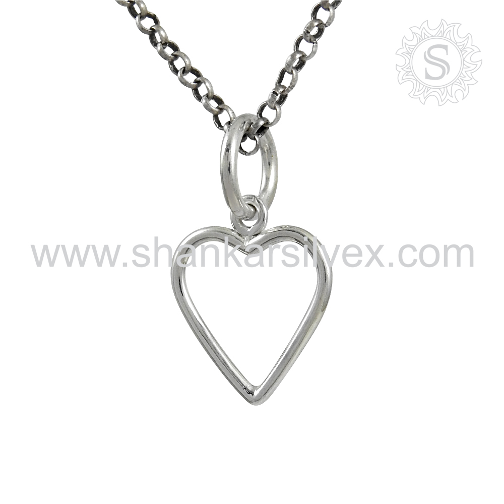 Heartwarming Plain Silver Pendant Love Birds 925 Silver Jewelry Wholesaler Silver Jewelry India