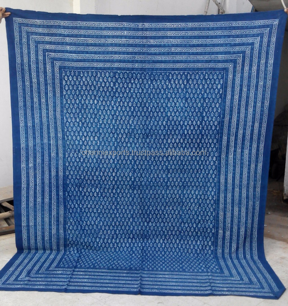 100 % cotton block print blue indigo printed bedspread