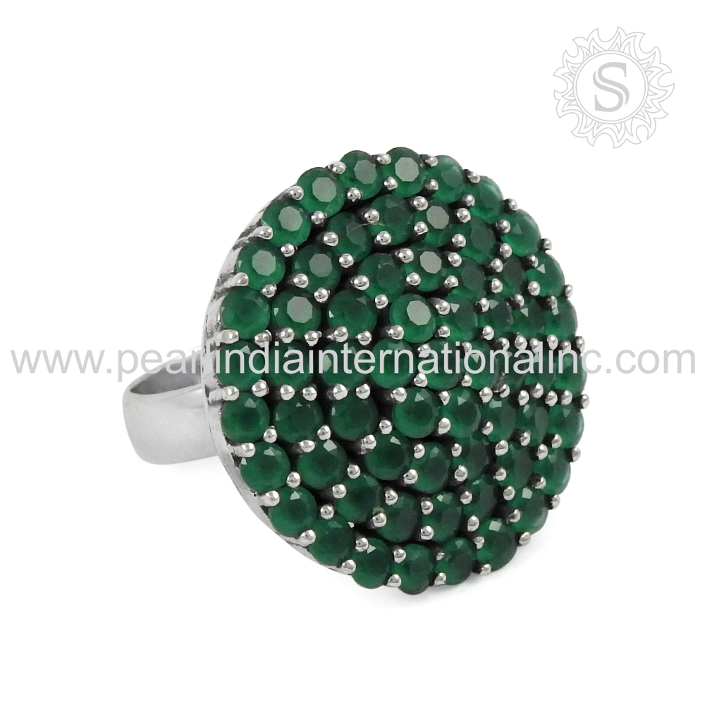 Prominent green onyx silver ring 925 sterling silver jewelry indian silver jewelry wholesaler