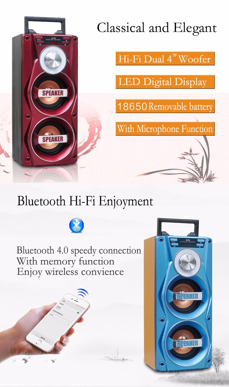 Portable Wholesale Quality Products Dual 4 inch Stage Bluetooth Speaker with MIC Port