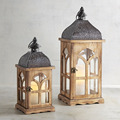 Wooden Hurricane Lantern | Wooden Lantern With Metal TOP