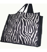 ZEBRA PRINT JUTE SHOPPING BAG