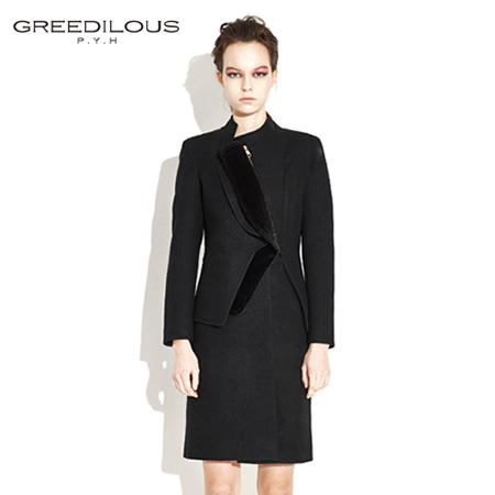 [GREEDILOUS] Double Collar(BLACK) high-quality zipper_ black wool_off-center placket long coat