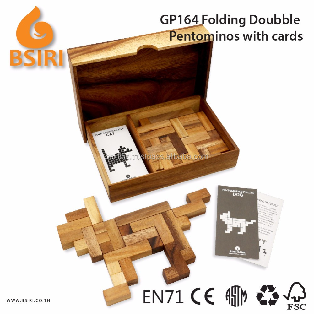 Wooden Folding Doubble Pentominoes with Cards Educational Toys