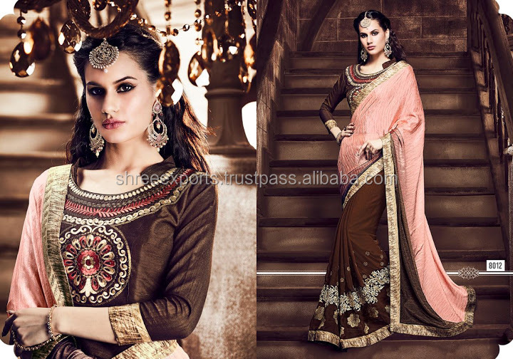 Wealthy Peach Crushed Silk Georgette Designer Saree/fancy saree blouse designs/wholesale saree