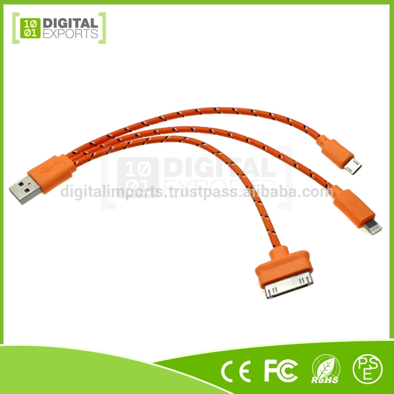 Hot selling unique oem custom colorful led smiley face sync data micro usb cable