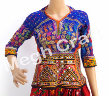 Rabari Embroidery Mirror Work Blouse Top - Kutch Handmade Embroidered Banjara Style Blouse
