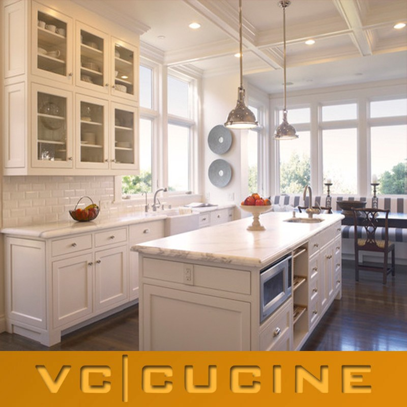 White pvc kitchen with visible handle cabinets