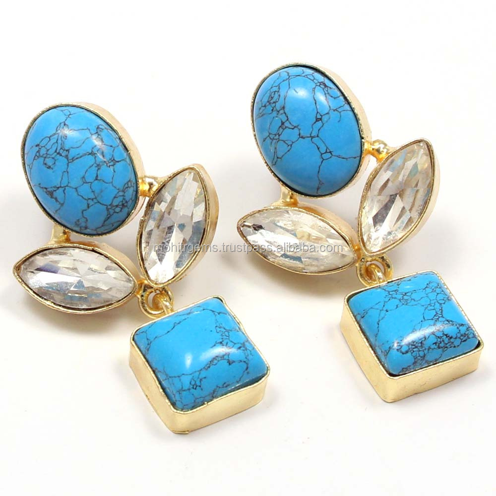 Blue Color Turquoise Chatons Long Statement Vintage Jewelry Earring