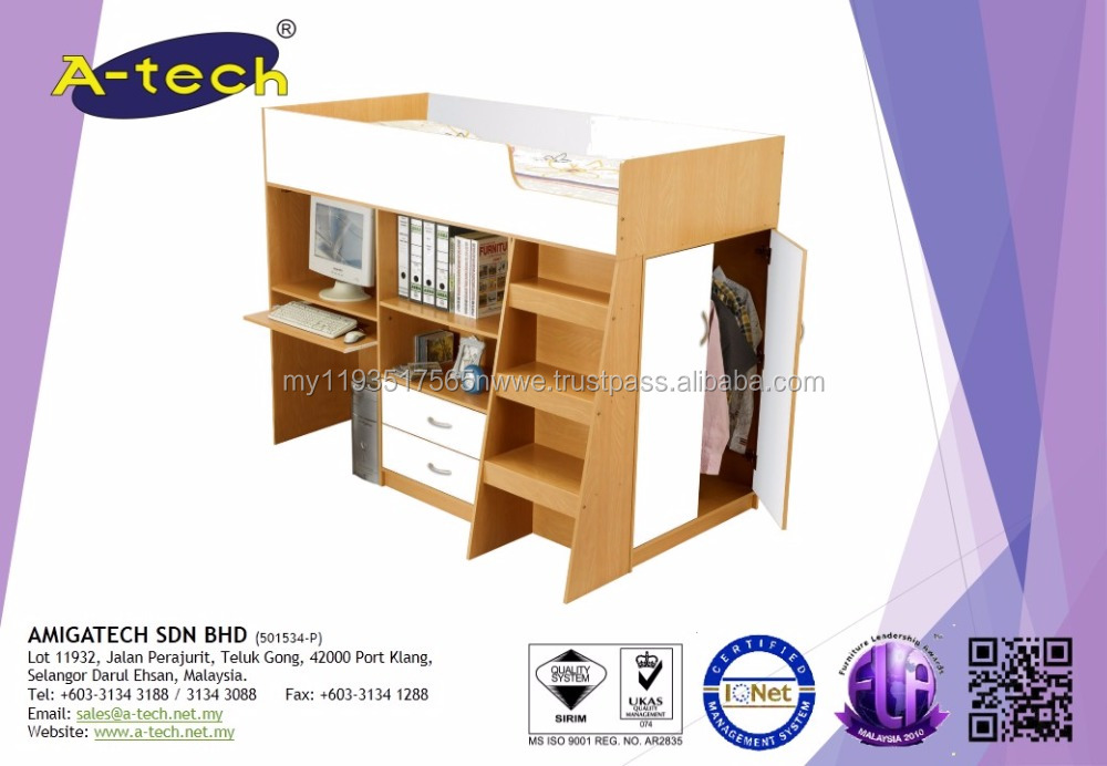 A-Tech - BD 8200 Wooden Mid Sleeper with bunk bed