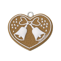 Polymer Clay Pendants Christmas Heart Coffee & White Bell Pattern 3.7cm x 3.3cm, 10 PCs