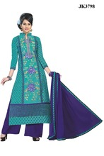 Thrilling Dark Cyan And Blue Color Print And Embroidery Work Salwar Kameez