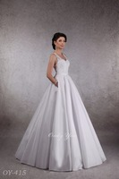 Delightful Taffeta Wedding Dress with Pockets Spagnetti Strap See Through Back Cord French Lace