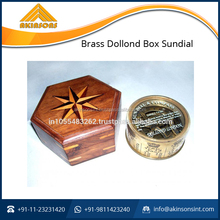 Optimum Quality Brass Dollond Box Sundial with Wooden Box