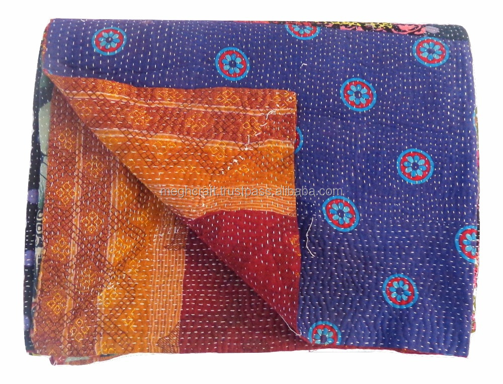 kantha throw From India -Hand Stitching Indian Reversible Wholesale Kantha Quilts