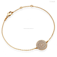Fine Jewelry Exporter Pave Diamond Disc 14k Yellow Gold Bracelet