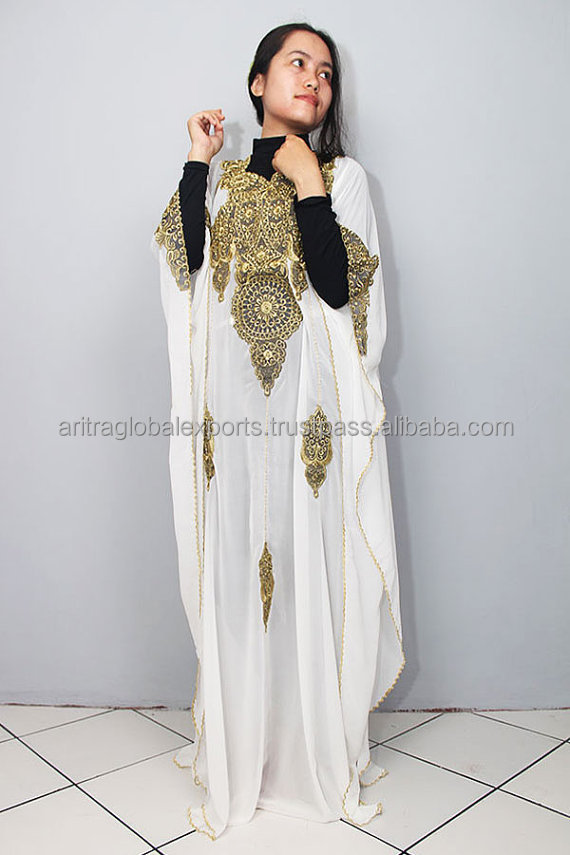 Moroccan Kaftan Eid Fancy White Sheer Chiffon Kaftan Gold Embroidery Dubai Abaya Maxi Dress Jalabiya