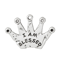 "Charm Pendants Crown Antique Silver ""I Am Blessed"" Carved 3.1cm x 22.0mm, 50 PCs"