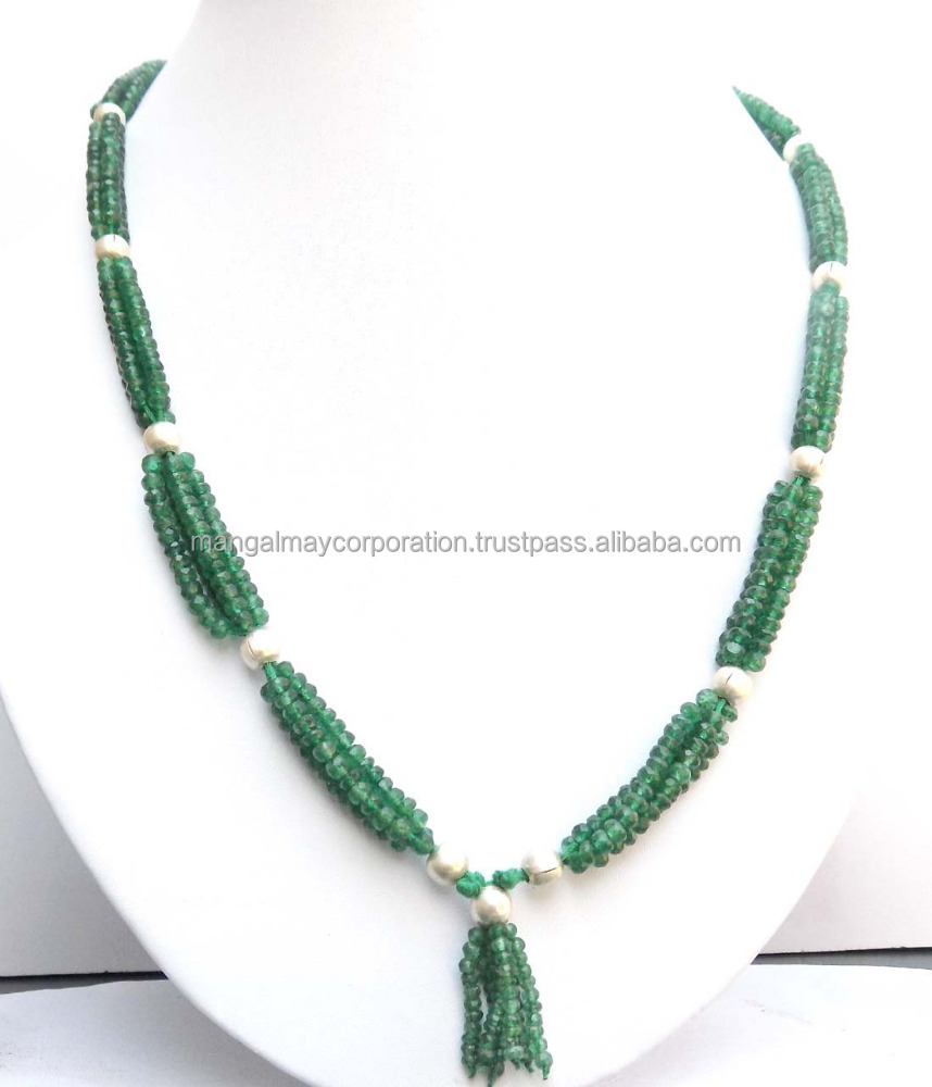 Natural green jade Gemstone beaded necklace women beads necklace
