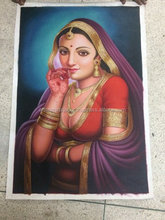 2016 New Product beautiful Smiling Indian Women Handmade Oil Painting