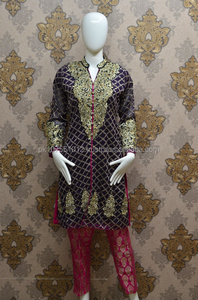 Fancy Front Open shirt With Jamawar Straight Pant