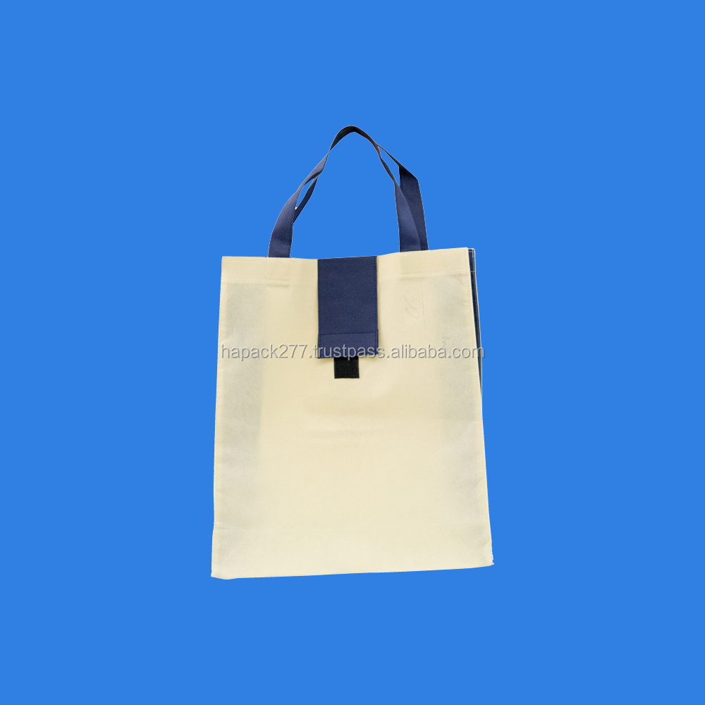 Pocket Foldable PP Non Woven Bag with Cream film and Blue handle