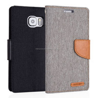PU leather phone case Mercury Canvas diary PU leather case (Black)