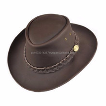 2015 LEATHER COWBOY Australian Style Leather Unisex Cowboy Hat In Black & Brown Colours