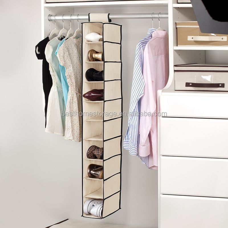 10 Shelf Hanging Shoe Organizer Beige