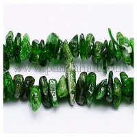 Natural Diopside Chips Beads Strands, 8~16x6~8x1.5~4mm, Hole: 1mm G-J107-07