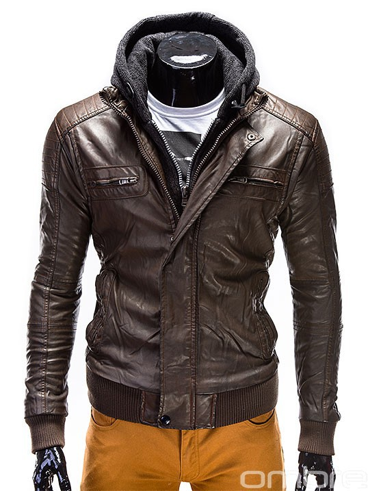 OMBRE Fashionable Brown Artificial Leather Jacket Coat Overcoat with zippers hood men clothes italian style