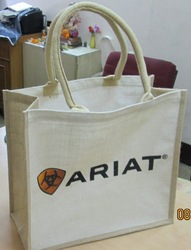 Natural & Off white combination Jute Promotional bag