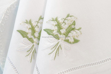 "Hand embroidery white cotton napkins no.19-""lily de valley"""
