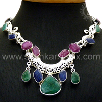 Light Fresh !! 925 Sterling Silver Ruby, Emerald, Sapphire /Wedding Bridal Jewelry Necklace NKCT1027-1