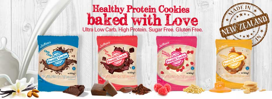 Justine's protein, gluten free cookies, without added sugar, with very low carbs