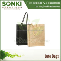 Customized Color Eco-Friendly Reusable Jute Gift Bag with Rope Handles