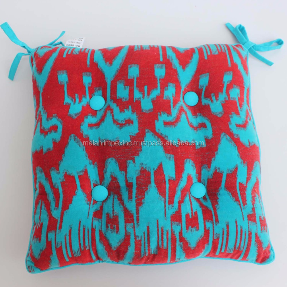 Cotton velvet printed chair cushion with filling