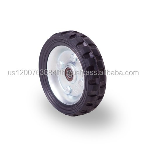 Hand truck-type rubber wheel 4 in with pressed steel rim, ball bearing . Axis diameter 0.39 in.