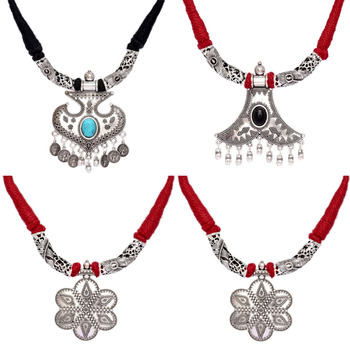 Jaipur Mart Necklace Wholesale Oxidised Silver Plated Jewelry Indian Traditional Design Necklace Combo for Fashion Girls & Women