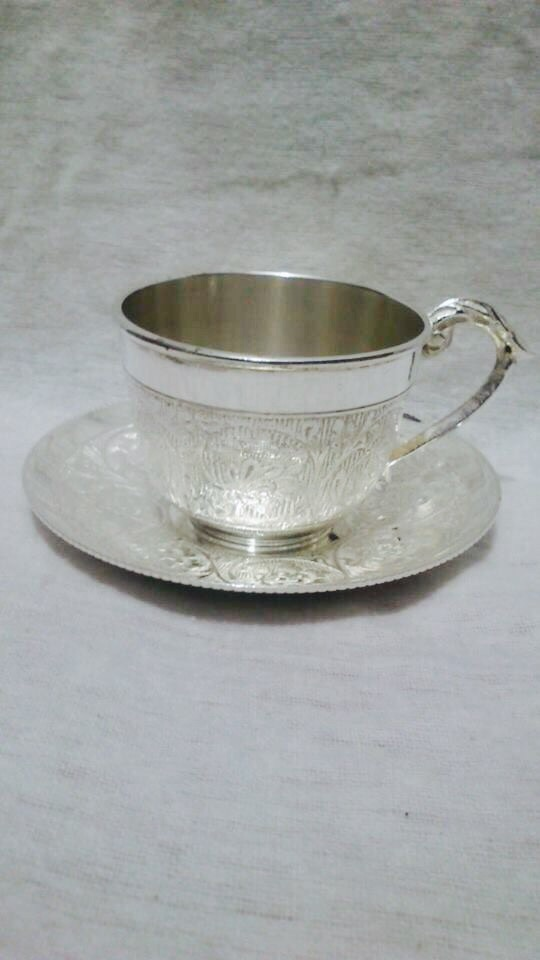 Silver Plated Brass Tea Coffee Cup With Plate