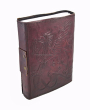 Embossed Leather Gryphon for Journal with Brass Clasp 5 in. X 7""