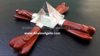 Red Jasper Angels Aagte Energy Generator With Crystal Quartz Pyramid