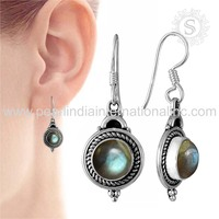 Original Indian Design 925 Sterling Silver Jewelry Labradorite Earring Jewellery