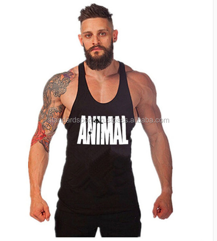 Cotton Plain Mens Tank Top Deep Cut Muscle Tank Tops Open Sides Workout T-shirt Bodybuilding T-shirt
