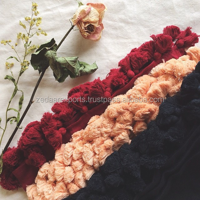 cotton tassels hijab